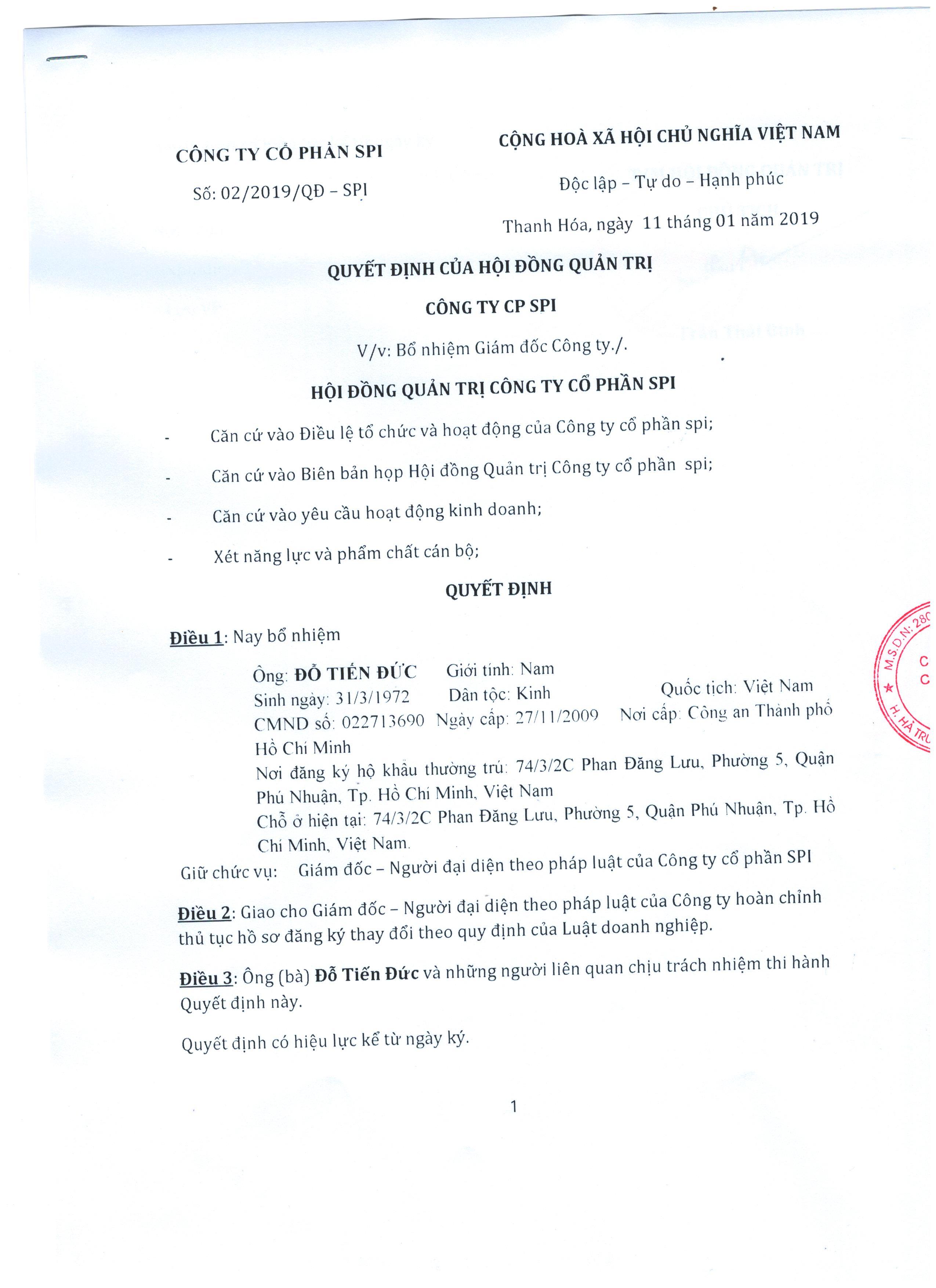 Quyết định bổ nhiệm GĐ1